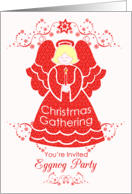 Red Lace Angel Christmas Eggnog Party Invitation card