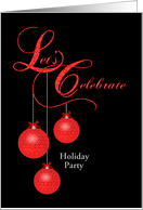 Custom Holiday Party Invitation, Red Lace Ornaments card
