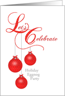 Custom Eggnog Party Invitation, Red Lace Ornaments card
