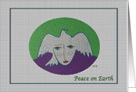 Peace on Earth, Face and Pigeon on Green and Purple card