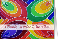 Birthday New Year's Eve, Spirals in Rainbow Colors Painting card