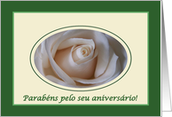 Portuguese Birthday, White Rose and Green card