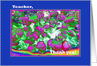 Teacher Thank you - Foreign Language - Flowers card