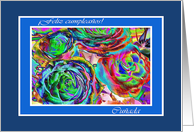 Spanish Birday for Sister in law, Colorful Artistic Roses card