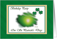 St. Patrick's Birthday Party, Fuzzy Green Shamrocks card