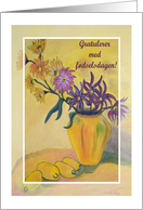 Norwegian Birthday Yellow Vase Flowers card