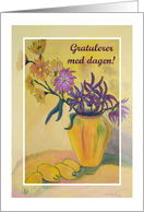 Norwegian Birthday Y Vase Flowers card