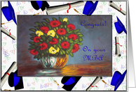 Graduation MBA, Vase with Red and Yellow Flowers card