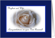 Vow Renewal Nephew and Wife, White Rose card