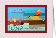 Valentine's Day for Grandchildren, Hummingbird and Flowers card