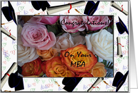 Congratulations on your MBA, Colorful Roses and Mortars card