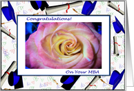 Congratulations on Your MBA, Pink Rose and Mortars card