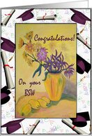 Congratulations on your BSW Goddaughter, Vase with Flowers and Mortars card
