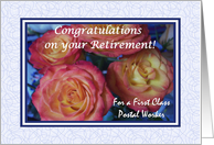 Congratulations Retirement for Postal Worker, Roses and Blue card