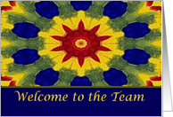 Welcome to our Team, Colorful Rose Window Painting card