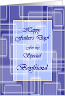 Happy Father's Day for Boyfriend, Blue Geometric Maze card