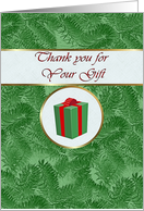 Thank you Cousin for Christmas Gift, Green Spruce and Gift Package card