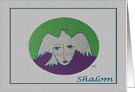 Shalom Peace, Face and Pigeon on Green and Purple card