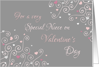 Happy Valentine's Day Niece - Pink Gray Swirls & Hearts card