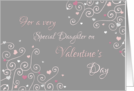 Happy Valentine's Day Daughter - Pink Gray Swirls & Hearts card