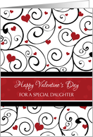 Happy Valentine's Day for Daughter - Red White Hearts card