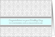 Wedding Day Congratulations Son & Daughter in Law - Gray Blue Damask card
