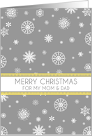 Parents Merry Christmas Card - Yellow Grey Snow card