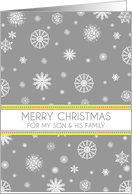 My Son & Family Merry Christmas Card - Yellow Grey Snow card