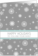 Happy Holidays Secretary Card - Aqua Grey Snowflakes card