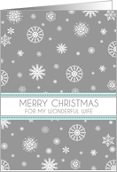 Wife Merry Christmas Card - Aqua Grey Snowflakes card