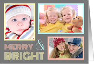 3 Photo Merry & Bright Christmas Card - Grey & Pastel card