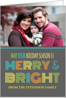 Photo Merry & Bright Christmas Card - Colorful Modern card