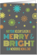 Merry & Bright Christmas Parents - Colorful Snowflakes card