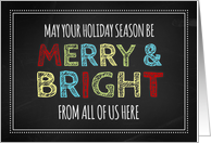 Merry & Bright From All of Us Christmas Card - Colorful Chalkboard card