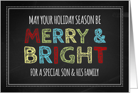 Merry & Bright Son & Family Christmas - Colorful Chalkboard card