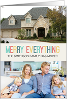 Merry Everything We've Moved Custom Name Photo card