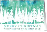 Christmas We've Moved Rustic Watercolor Northern Lights card