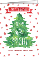 Watercolor Christmas Tree New Address Custom Name Card