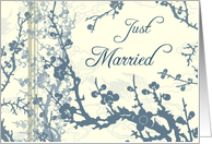 Blue and Beige Floral Just Married Announcement Card