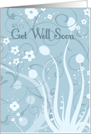 Blue Floral Mom Get Well Soon Card