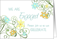 Garden Flowers Engagement Party Invitation Card