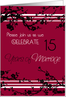 Red Floral 15th Anniversary Party Invitation Card