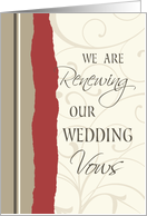 Red and Beige Wedding Vow Renewal Invitation Card