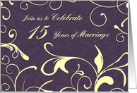 Purple Yellow 15th Wedding Anniversary Party Invitation Card