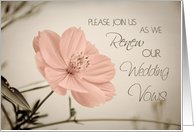 Pink Flower Vow Renewal Invitation Card