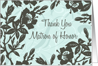 Blue Floral Best Friend Matron of Honor Thank You Card