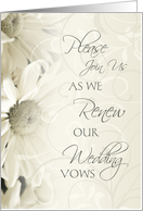 White Flowers Wedding Vow Renewal Invitation Card