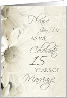 White Flowers 15th Wedding Anniversary Party Invitation Card