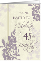 Purple Flowers 45th Birthday Party Invitation Card