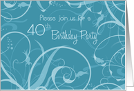 Turquoise Flowers 40th Birthday Party Invitation Card